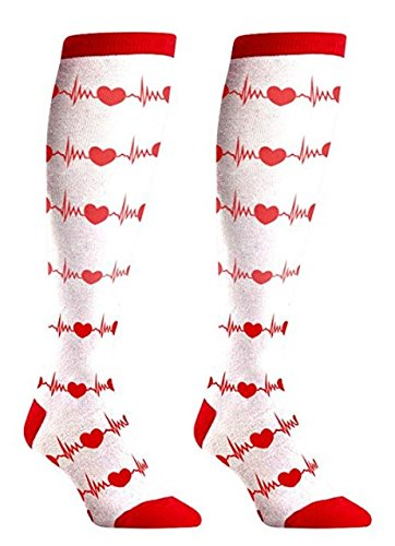 PULSECARE RN Enfermera Regalos calcetines - Cute Fun diseño con su uniforme - nuevo color blanco rodilla alta: Amazon.es: Ropa y accesorios