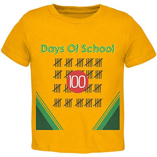 Price comparison product image Old Glory 100 Days Of School Crayon Toddler T Shirt Gold 4T