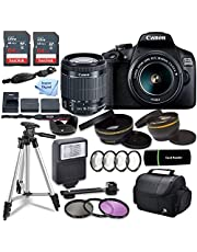 Canon EOS 2000D (Rebel T7) DSLR Camera w/Canon EF-S 18-55mm F/3.5-5.6 Zoom Lens + Case + 128GB Memory with Inspire Digital Cloth