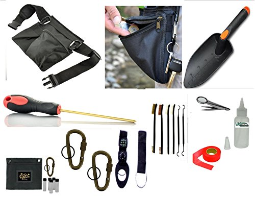 VAS Treasure Hunters and Metal Detectors Tool Belt 1 | Utility Tool Belt | Coin Probe | Hand Trowel | Cleaning Kit Brushes/Picks / Mag Tweezers | Treasure Bag | Locking Coyote Tan Carabiner