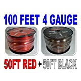 4 Gauge 50 BLACK and 50 RED Car Audio Power Ground Wire Cable 100 ft Total