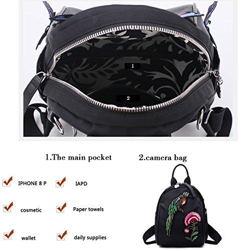 le palloncino multifunzionali Zaini nylon donna black4 Moda zaino ragazze per Borsa Raffreddare a tracolla nero tendenza nqwv78H8Wx