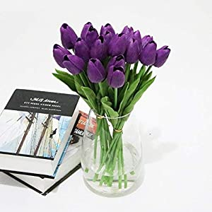 Adarl 10pcs Artificial Flower Artificial Tulip Flower Silk Floral for Home Office Decor Party Festival Weeding Decoration Purple 8