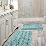 H.VERSAILTEX Non Slip Thick Shaggy Chenille Bathroom Rug Mat Extra Soft and Absorbent Striped Rug Machine-Washable (Set of 2-20'' x 32''/17'' x 24'') Duck Egg Shell Blue