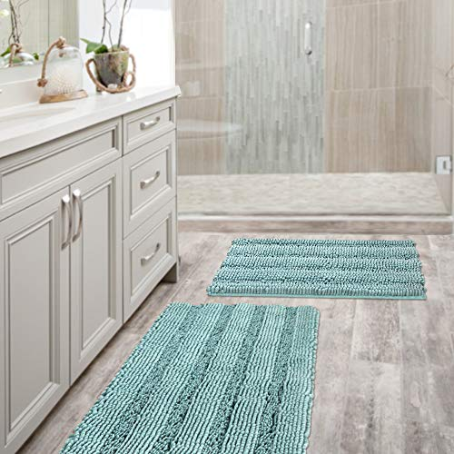 """H.VERSAILTEX Non Slip Thick Shaggy Chenille Bathroom Rug Mat Extra Soft and Absorbent Striped Rug Machine-Washable (Set of 2-20"""" x 32""""/17"""" x 24"""") Duck Egg Shell Blue"""
