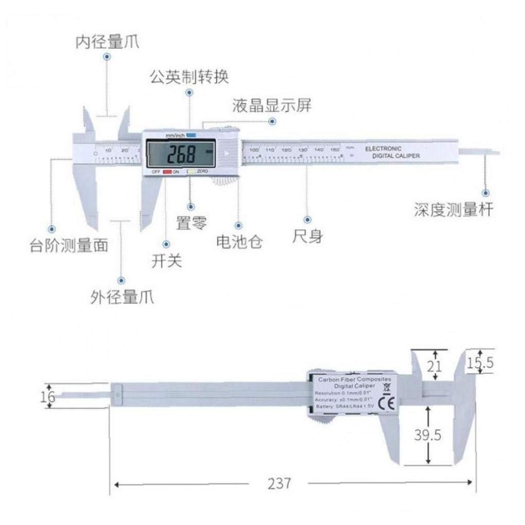 Aisoway Calibrador Digital de 150 mm 6 pulg electr/ónica Digital LCD de Fibra Vernier de micr/ómetro Dropshipping