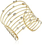 Michael Kors Brilliance Set Stone Gold-Tone Statement Open Cuff Bracelet
