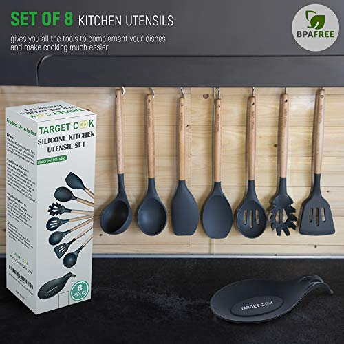Kitchen Utensil Set - Silicone Cooking Utensils - Kitchen Accessories - Housewarming Gifts - Cooking Tools - Wooden Handle Cooking Spoons by TargetCook (Image #5)