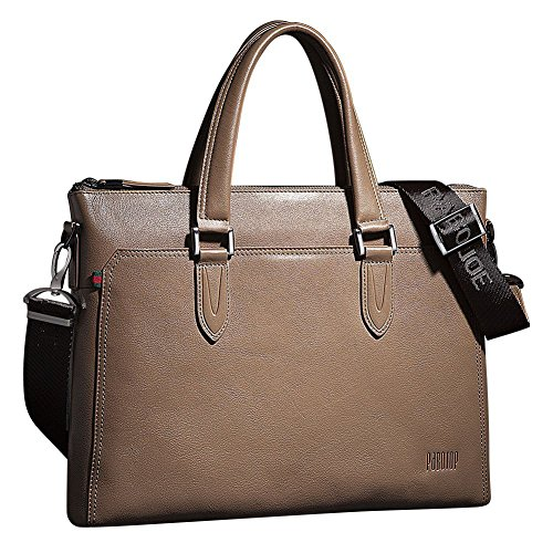 Men's Leather Double Oneworld 100 Messenger Tote One Genuine High Khaki Real Handbag Quality Cowhide Shoulder Style x4qqwXpE