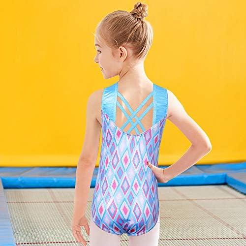 BAOHULU Girls Gymnastics Leotards Shiny Spliced Scale Dance Clothes Cosplay Costumes