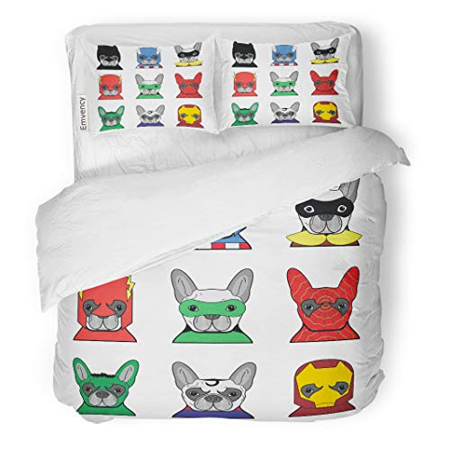 Semtomn Decor Duvet Cover Set Twin Size Green Hero French Bulldog Heroes in Color Mask Super 3 Piece Brushed Microfiber Fabric Print Bedding Set -