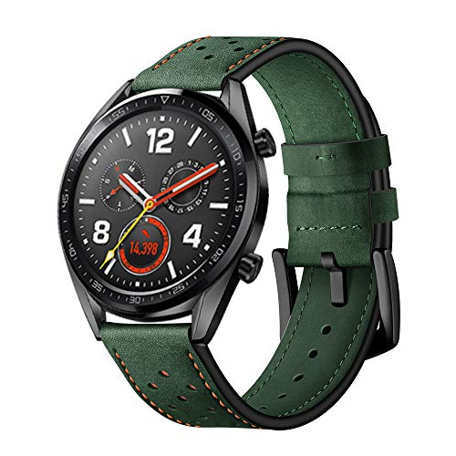 Price comparison product image For Huawei Watch GT_ShaoshaoReplacement Fashion Leather Wristband Band Strap Bracelet (Army Green)