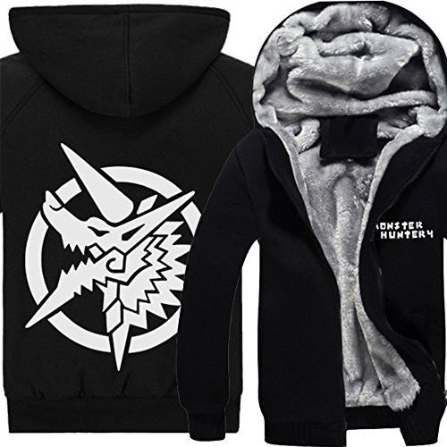 Rain's Pan Anime Monster Hunter Cosplay Costume Thick Fleece Hoodies Sweatshirt Jacket Coat (US L=Asia XXL, black (Monster Hunter Cosplay Costume)