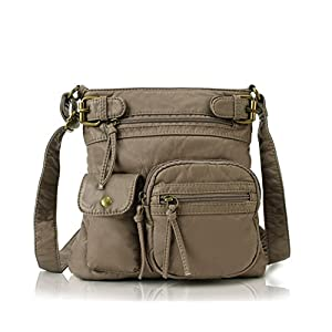Scarleton Small Multi Pocket Crossbody Bag for Women, Ultra Soft Washed Vegan Leather Shoulder Purse, H1833