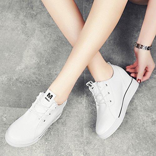 Femme Décontractées Simples A Blanc Taille Couleur Féminines forme 39 Chaussures Printemps Épais Hwf La Le Fond Plate Dans Augmenté 1w5xqCHA