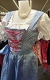 Dirndl Dress Blue Check, Ethnic 3 Piece Oktoberfest Bavarian Trachten. Austrian, German Folk Outfit - Halloween Costume With Apron and Blouse