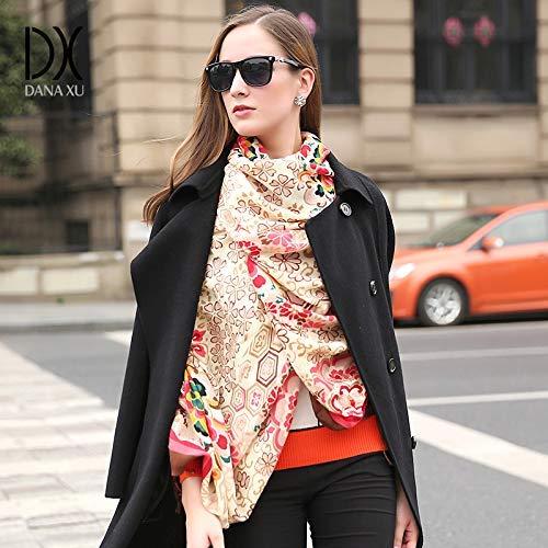 Khaki Long Scarf National wind travel shawl long cloak oversized scarf female winter dualuse shawl (color   Khaki) Fashion Scarf