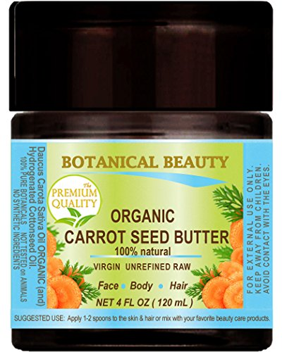 ORGANIC CARROT SEED OIL - BUTTER RAW. 100 % Natural / VIRGIN / UNREFINED. 4 Fl oz - 120 ml. For Skin, Hair, Lip and Nail Care.