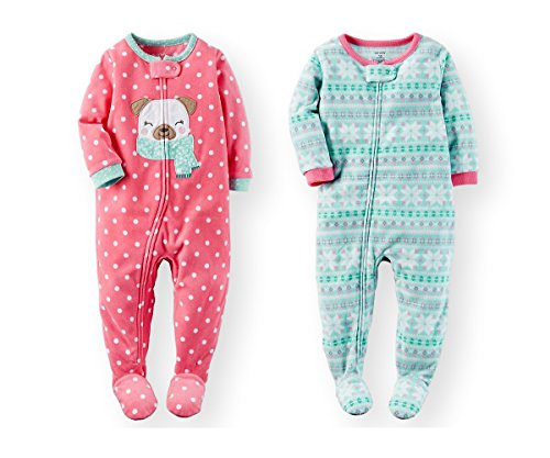 Carter's Baby Toddler Girl's 2 Pack Fleece Footed Pajama Set