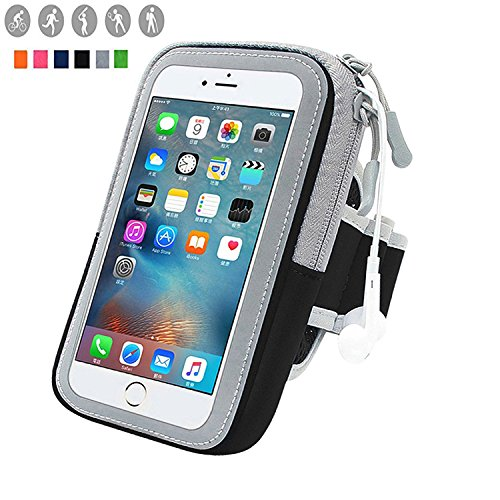 y Waterproof Outdoor Adjustable Cell Phone Bag Key Holder for iPhone 7 plus 6plus 6s plus ,Samsung Galaxy Note 5 4 3 Note Edge S5 S6 S7 Edge Plus (Black) (Adjustable Armband)
