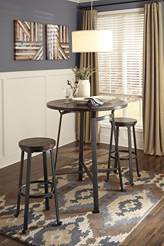 Challemy Rustic Brown Round Dining Room Bar Table w/ 2 Tall Metal Wood Barstools