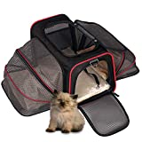 Cat Travel Carrier Bag, Hand Bag Carrier for Small Dogs Large Cat Puppy Kitten, Airline Approved Pet Purse Carrier, Large Expandable under Seat Cat Dog Carrying Bag with Side Pocket for Subway Car Bus