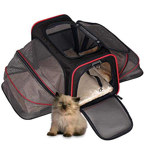 DZMWEK Airline Approved Pet Carrier for Small Dogs and Medium Cats – Soft Sided Expandable Kennel Cat Crate, Dog Kennels and Crates Small Animals Kittens Puppies Ventilation Travel Carrier(Black)