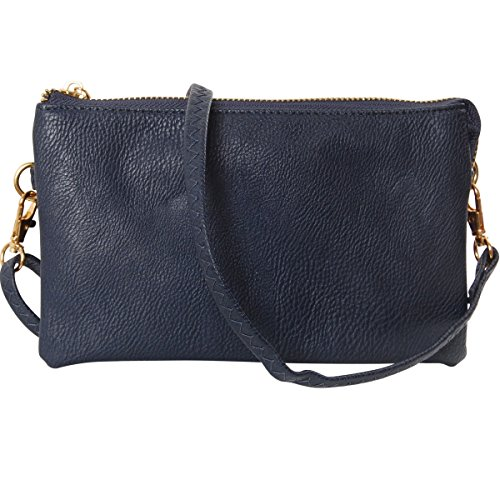 Humble Chic Vegan Leather Small Crossbody Bag or Wristlet Clutch Purse, Includes Adjustable Shoulder and Wrist Straps, Navy Blue, Dark Blue (Purses And Handbags Navy Blue)