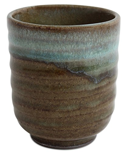 Mino ware Japanese Pottery Yunomi Chawan Tea Cup Sky Blue Glaze on Moss Green made in Japan (Japan Import) ()