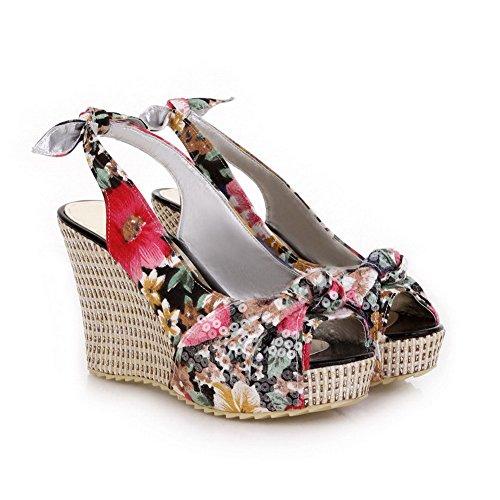 VogueZone009 Women's Peep Toe High-Heels Soft Material Pull-on Platforms & Wedges Black xx0U4