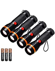 Pack of 4 Pocket Torches, Fulighture LED Standard Torches Mini Flashlights Zoomable, 2 Modes 70 Lumens, Adjustable Focus, Battery Included, Portable for Outdoor Camping, Hiking, Gift, Home Lighting
