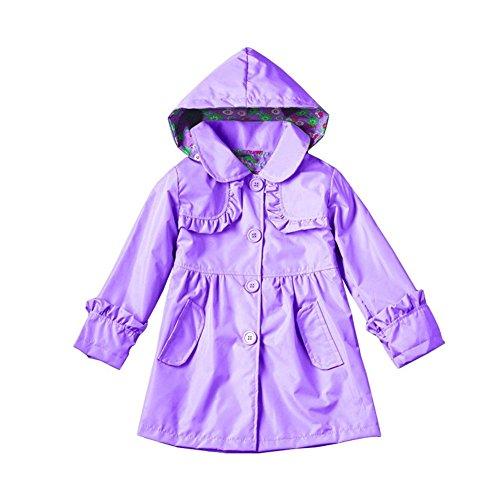 Girls Rain Jackets Coats Outerwear (8, Purple) by Star Flower (Image #1)