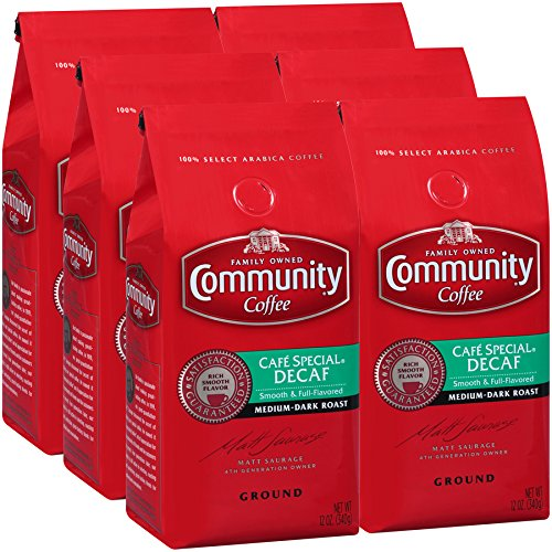 - Community Coffee Café Special Decaf Medium Dark Roast Premium Ground 12 Oz Bag (6 Pack), Full Body Rich Flavorful Taste, 100% Select Arabica Coffee Beans