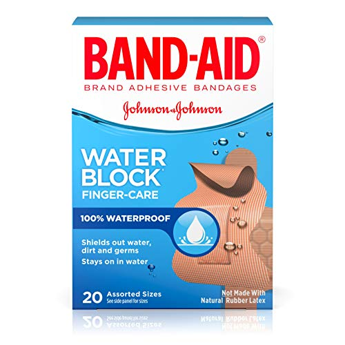 Band-Aid Brand Water Block Waterproof Adhesive Bandages for Minor Cuts and Scrapes, Fingertip and Knuckle, 20 ct