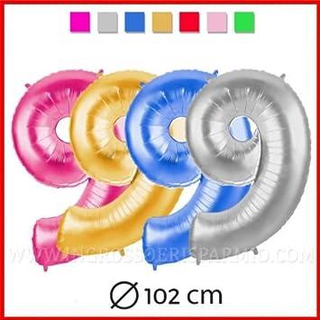 Globo coloreaado con forma de número y efecto metalizado, perfecto para fiestas de cumpleaños y