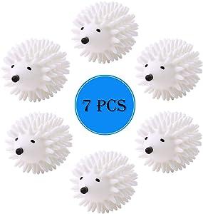 7 Pack Hedgehog Dryer Balls Reusable Laundry Dryer Balls Anti Static Eco Friendly Plastic Washing Ball Wrinkles Remover Dryer Sheets Wool Fabric Softener Alternative (White)