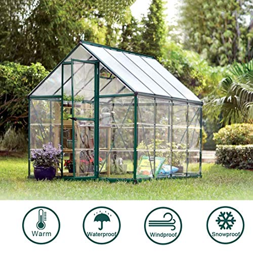 BeGrit Waterproof Clear Tarpaulin Sheet Heavy Duty Dustproof Rainproof Strengthen Windproof Cover 6.66.6ft with Eyelets Bungees Ball Cord for Plants Greenhouse Pet Hutch Roof