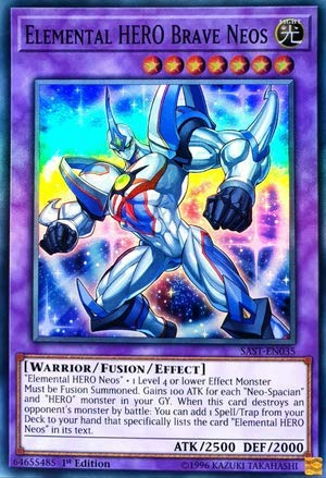 Yu-Gi-Oh! - Elemental Hero Brave Neos - SAST-EN035 - Savage Strike - First Edition - Super Rare