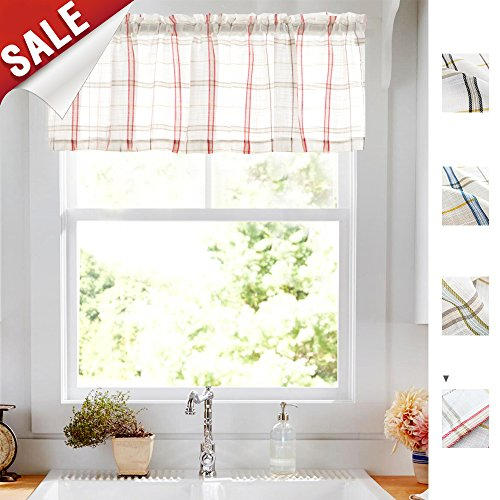 Valance Window Curtain 18 inch Rod Pocket Check Open Weave Sheer Drape Kitchen Panel Red One Piece