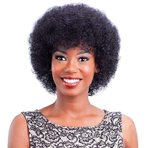 Rebeauty Afro Human Hair Wig for Women, Kinky Curly Hair Short Wig for African American Replacement Wig Natural Color Fluffy (6 inch afro wig, Natural Color)