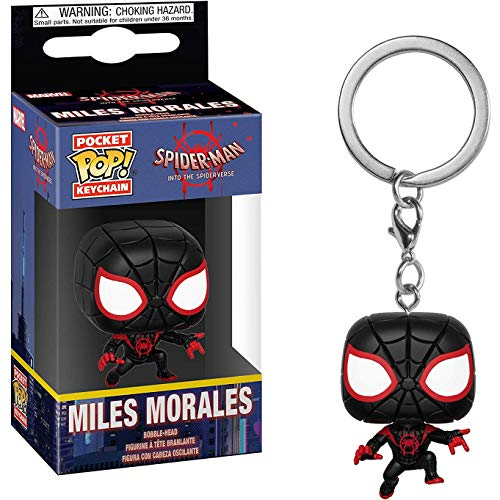 Funko Miles Morales / Spider-Man: Spider-Man - Into The Spider-Verse x Pocket POP! Mini-Figural Keychain + 1 Official Marvel Trading Card Bundle ()
