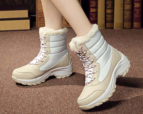 all'aperto Sportive scarpe Color rotonda Eu Beige punta da antiscivolo Tall Bootie Lace 41 Match da cuciture impermeabile Donne trekking 35 neve taglia Stivali calde casual scarpe up x1UwqR
