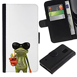 For Samsung Galaxy S5 V SM-G900,S-type® Sun Shades Sunglasses Frog White Drink - Drawing PU Leather Wallet Style Pouch Protective Skin Case