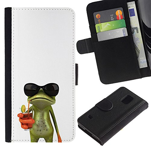 For Samsung Galaxy S5 V SM-G900,S-type® Sun Shades Sunglasses Frog White Drink - Drawing PU Leather Wallet Style Pouch Protective Skin - Shades Sunglasses Types Of