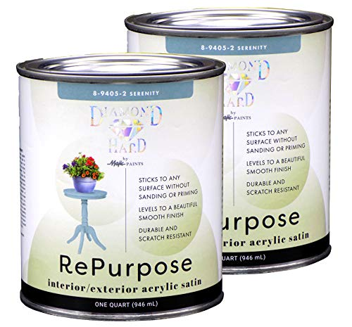 Majic Paints Diamond Hard Interior/Exterior Satin Furniture Paint, RePurpose your Furniture, Cabinets, Glass, Metal, Tile, Wood and More, Serenity, 2-Quart (8-9405-22)