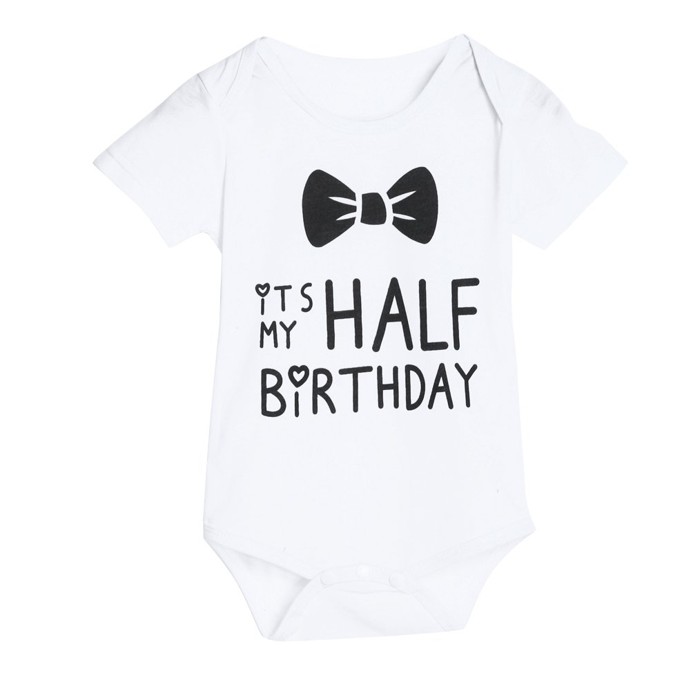 Chinatera Baby Girls Boys It's My Half Birthday Romper Bowknot Print Jumpsuit