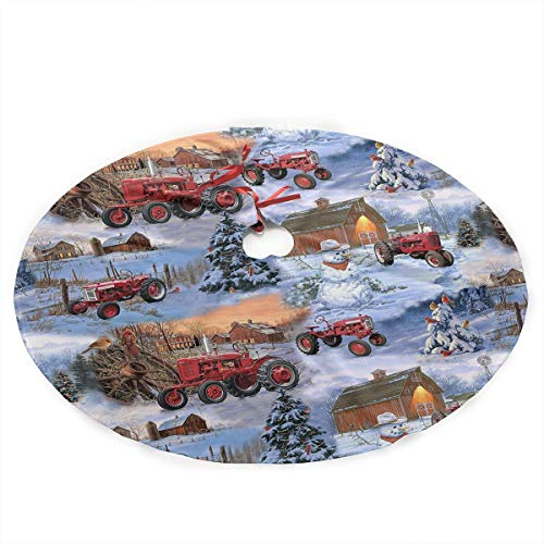 ERERBA228 International Harvester Farmall Tractor Cotton Christmas Tree Skirt, Rustic Xmas Tree Decorations Skirts Holiday Ornaments for Holiday Party