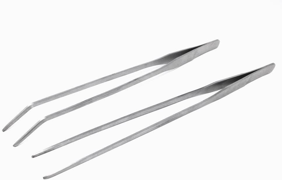 HONBAY 2pcs Stainless Steel Straight and Curved Tweezers Nippers Feeding Tongs for Reptile Snakes Lizards Spider
