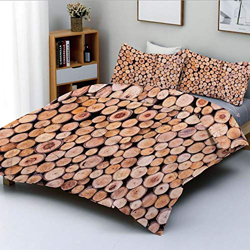 Aluminum Stack Twin (Duplex Print Duvet Cover Set Twin Size,Mass of Wood Log Forest Tree Industry Group of Cut Lumber Circle Stack ImageDecorative 3 Piece Bedding Set with 2 Pillow Sham,Cream,Best Gift For Kids & Adult)