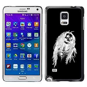 Eason Shop / Hard Slim Snap-On Case Cover Shell - Black Halloween Skull White Skeleton - For Samsung Galaxy Note 4 SM-N910